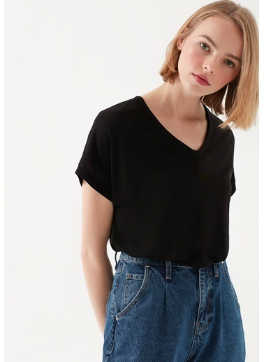 Mavi Kadın  V Yaka Basic Tişört 166449-900 Siyah